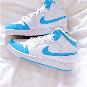 Custom air jordan mid bright blue
